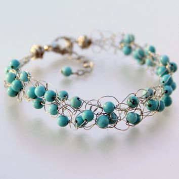 Turquoise Chunky crochet wiring beaded bracelet Bridesmaids gifts Free US Shipping handmade Anni designs