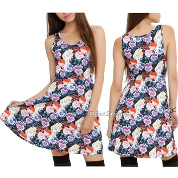 Licensed cool Disney Alice in Wonderland Pansies Flowers Fit & Flare Dress JRS S-L  SHIP