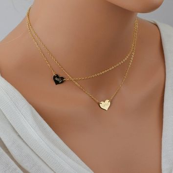 Name Heart Necklace, Personalized Gold Necklace, Layered Necklace Set, Delicate Gold Necklace, Gold or Rose Heart Necklace
