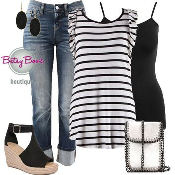 (pre-order) Set 523: Black & White Striped Ruffle Sleeve Top (incl. top, tank & earrings)