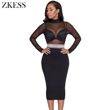 Zkess Women Sheer Black Mesh Lace Patchwork Bodycon Dress Turtleneck Embellish Waistd Sexy Party Club Midi Dress LC61923