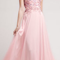 Baby Pink Beaded Lace & Chiffon Gown Prom 2015