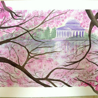 Pink Cherry Blossom Jefferson Memorial Original Watercolor Painting, pink sakura jefferson memorial DC watercolor painting