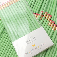 Pastel Green Pencils, Set of 12, Preppy School Supplies