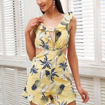 Ruffle floral print backless romper