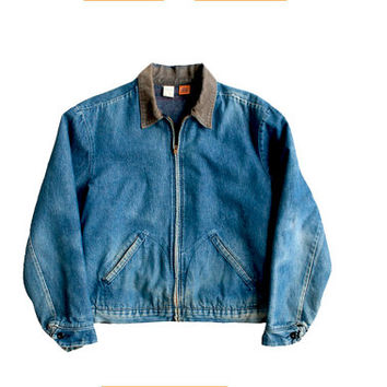 men's vintage big ben denim jacket blanket lined denim chore bomber jacket coat small medium