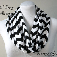 SOFT Chevron Infinity Scarf  in Black - Modern Knit Circle Scarf by Scarves Infinity