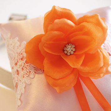 Orange Pink Wedding Ring Pillow attach to the Leather Collar, Ring Bearer Pillow