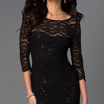 Short Lace Scoop Neck Dress with 3/4 Length Sleeves by Jump