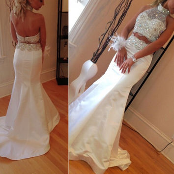 Custom Made 2016 Mermaid Prom Dresses Halter Sleeveless Backless Sweep Train Chiffon Crystal 2015 Sexy Two Piece Party Dress