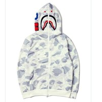 Bape AAPE Tide brand yin and yang mosaic camouflage shark head embroidery hooded jacket men and women sweater