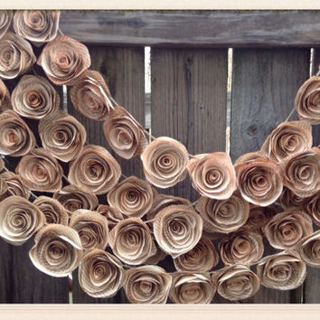 Paper Flower Garland. Book page flowers. 2015 wedding trends. Vintage wedding. Rustic wedding. Tea stained flowers. YOUR COLORS. pink roses.