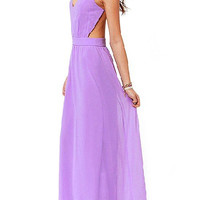 Purple Open Back Maxi Dress