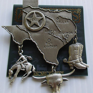 Vintage JJ pin Texas Lone Star State- Jonette Jewelry brooch-  Unique gift under 20- Artifacts Collectible 1986