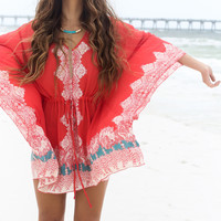 Atlantic Stars Coral Butterfly Sleeve Dress