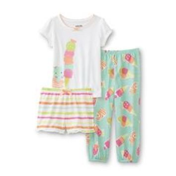 Infant & Toddler Girl's Graphic Pajama T-Shirt, Pants & Shorts - Ice Cream - Kmart