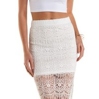 White Bodycon Lace Midi Skirt by Charlotte Russe