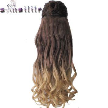 """S-noilite Long Curly 23"""" 58CM Heat Resistant Synthetic Hair Clip In On Ombre Hair Extensions Two Tones Hair Piece"""
