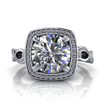 Square Halo 8 mm Moissanite Engagement Ring - Legendary