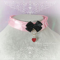 Kitten Pet Play Cat Collar Costume Choker Necklace Baby Pink Satin O Ring Black Bow Red Heart kitty pastel goth Lolita Neko BDSM DDLG