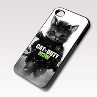 Cute Cat Of Duty Parody, Photo on Hard Case for iPhone 4 / 4s or iPhone 5 case