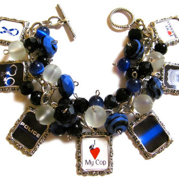 Police Wife/Girlfriend Altered Art Charm Bracelet Blue Black White