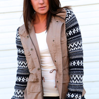 Aztec Sleeves Cargo Jacket