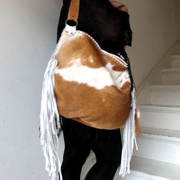 Fringed cow hair hide brown white leather purse western southwestern navajo  hobo navaho tribal hippie boho bohemian OOAK bag sweetsmokebags