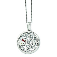Sterling Silver Hello Kitty Enamel Love Circle Red Bow Collection Necklace QHK144