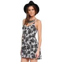 Grey Tropical Plants Printed Spaghetti Strap Mini Dress with Back Zipper