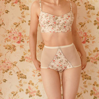 Handmade Ivory Floral Soft Bra And High Waist Pantie Lingerie Set. UK Size 8,10,12,14,16