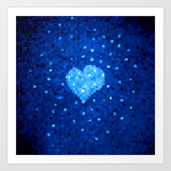 Winter Blue Crystallized Abstract Heart Art Print by Boriana Giormova