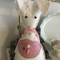 White corduroy pocket flower rabbit/ farmhouse rabbit shelf sitter/ easter bunnies