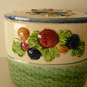 Japanese Majolica Biscuit Box Cookie Jar with Lid Raised Berries Decoration Oval Shape