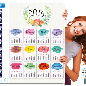 2016 Watercolor Calendar,A3 large Printable Calendar,Instant Download,Year Calendar,Digital Calendar,New Year Calendar,Wall decor Calendar