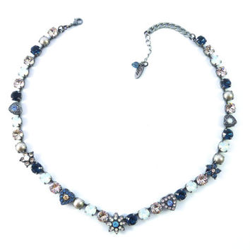 Très Chic, Swarovski crystal necklace, 8mm neutrals in blue and silk, hearts and flower embellished Siggy exclusive design