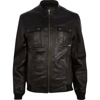 River Island MensBlack leather biker jacket
