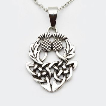 Celtics Knot Thistly Flower Field Scotland National Symbol Necklace Charm Fashion Jewelry For Men Women