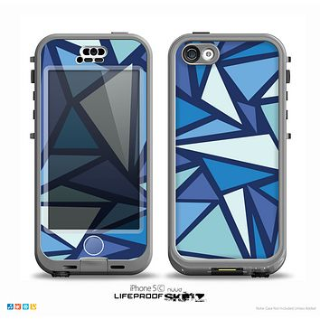 The Large Vector Shards of Blue Skin for the iPhone 5c nüüd LifeProof Case