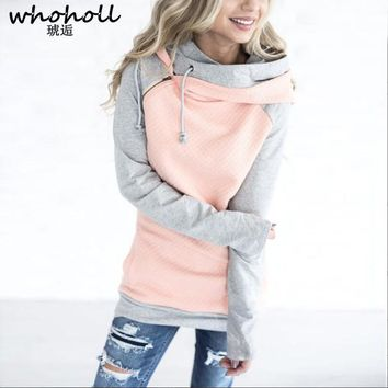WHOHOLL Winter Autumn 2017 Women Hoodies Female Warm patchwork Hooded Sweatshirt Long Sleeve Pockets Casual Loose Pullovers