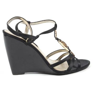Nine West Womens Ankle Strap Wedge Sandal NWJUVELIE BLACK