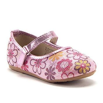 Girls FHX-03I Toddlers Mary Jane Embellished Floral Print Flats Shoes