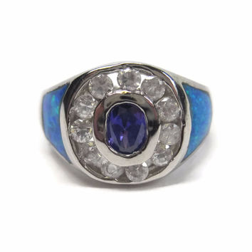 Vintage 90s Purple Crystal Blue Opal Halo Ring Sterling Size 8