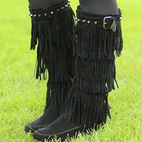 Wild Horses Fringe Boots in Black