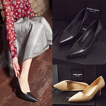 Leather Pointed Toe High Heel Shoes [4920407108]