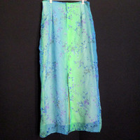 90s Floral Iridescent Ombre Maxi Skirt / Rave / Club Kid / Sea Punk