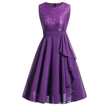 Chiffon and Lace purple Short Bridesmaid Dresses Wedding Party Dress Prom Gown Women's  Fashion Clothing
