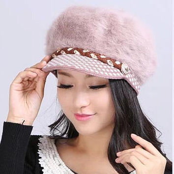 2014  Autumn & Winter new arrived worm Ear protection hats fashion  rabbit hair caps visors women Knitted hats fashion hats