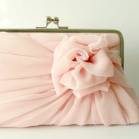 Dusty Pink Rose Clutch  Size Large
