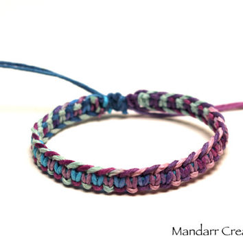 Fishbone Hemp Bracelet, Herringbone Pattern, Macrame Hemp Jewelry, Gifts for Her, Pastel and Purple Haze